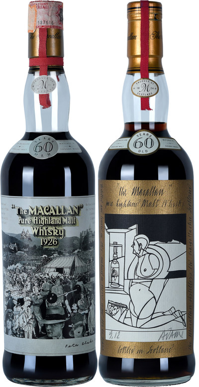The Macallan 1926 Peter Blake and Valerio Adami bottles (PRNewsfoto/Le Clos)