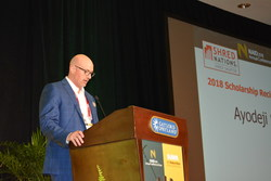 NAID President, Eric Haas, announcing the Shred Nations Scholarship Recipient at the NAID 2018 Conference in Nashville, TN.