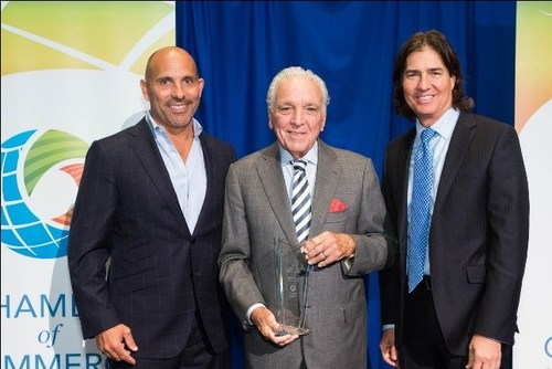 Chamber chairman Keith Spina, Leader of the Year honoree Alfonso Fanjul and award presenter Bill Bone (L to R). PHOTO CREDIT: CAPEHART PHOTOGRAPHY