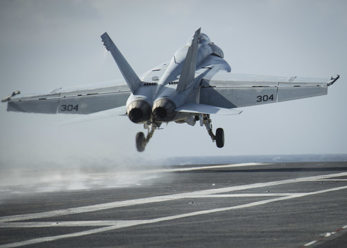 An F/A-18 taking off of a U.S. Navy aircraft carrier. (Photo credit: U.S. Navy)