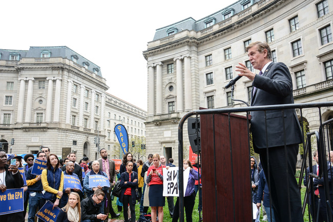 Rep. Don Beyer of Virginia addresses the crowd at the American Federation of Government Employees' Support the EPA rally on Wednesday.