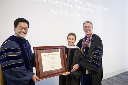 LMU honorary degree recipient Gail Abarbanel, founder and director of the Rape Treatment Center and Stuart House at Santa Monica-UCLA Medical Center, is pictured with Thomas Poon, Ph.D., LMU executive vice president and provost (left), and LMU President Timothy Law Snyder, Ph.D.
