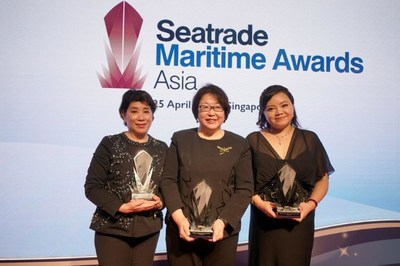 From left to right: Ms Doris Ho, Winner of the Seatrade Personality of the Year Award, Ms Tan Beng Tee, Winner of the Lifetime Achievement Award, Ms Katie Men, Wiinner of the Seatrade Young Person of the Year Award