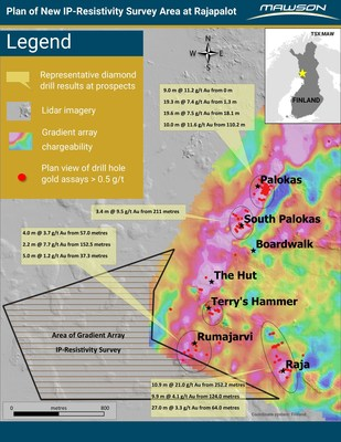 Figure 1: Extension of IP geophysical coverage, prospects and key diamond drill results and extension to gradient array IP survey area at Rajapalot. (CNW Group/Mawson Resources Ltd.)