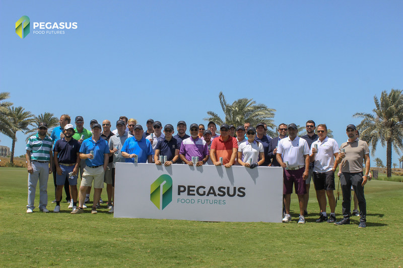 Group snap with guest players and the Pegasus Food Futures staff before tee off. (PRNewsfoto/Pegasus Food Futures)