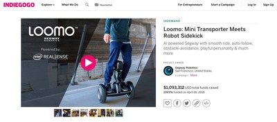 Loomo raised $1,093,312 on Indiegogo