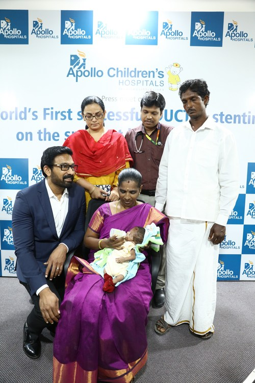 World's first DUCTAL stenting procedure performed on the smallest baby (1.19kg) done at Apollo Children's Hospitals (PRNewsfoto/Apollo Hospitals)