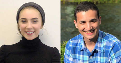 Babson College students Gyda Sumadi, left, and Cassiano Dos Santos honored as two of this year's leading undergraduate business students nationwide