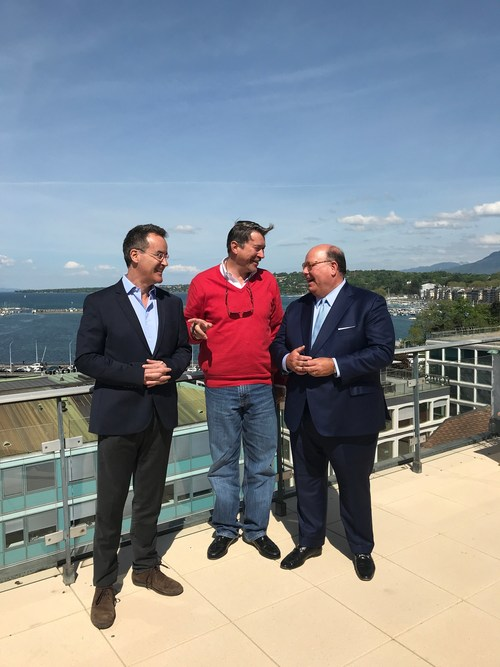 (From left to right) Marco Dunand and Daniel Jaeggi with Ambassador McMullen at Mercuria's headquarters in Geneva today.