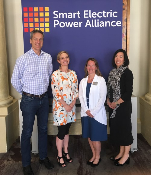 SEPA's changing Board leadership (left to right): Cris Eugster of CPS Energy, incoming Chair; Mary Kipp of El Paso Electric, new Chair-Elect; SEPA President and CEO Julia Hamm; and Past-Chair Caroline Choi of Southern California Edison.