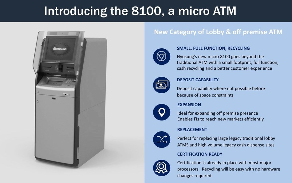 Hyosung's new micro 8100 goes beyond the traditional ATM with a small footprint, full function, cash recycling and a better customer experience.