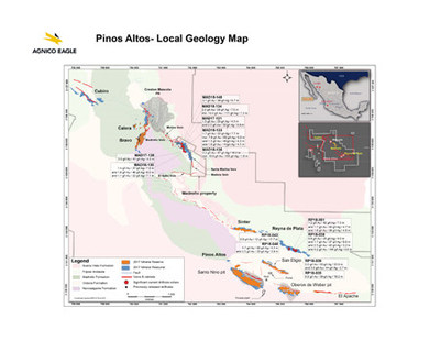 Pinos Altos - Local Geology Map (CNW Group/Agnico Eagle Mines Limited)