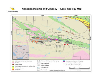 Canadian Malartic and Odyssey - Local Geology Map (CNW Group/Agnico Eagle Mines Limited)
