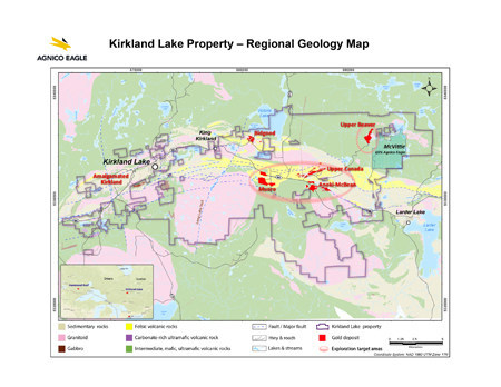 Kirkland Lake Property - Regional Geology Map (CNW Group/Agnico Eagle Mines Limited)