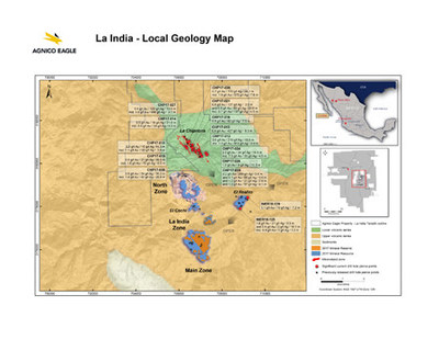 La India - Local Geology Map (CNW Group/Agnico Eagle Mines Limited)