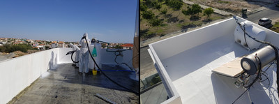 LINE-X Cyprus in Limassol recently coated the concrete roof of a building in LINE-X XS-101 EU. LINE-X – a global leader in extreme performance protective coatings with proprietary technologies – has just reached a milestone by receiving a European Technical Assessment ETAG 005 part 6 by the Deutsches Institut für Bautechnik, the approval body for construction products for the European Organisation for Technical Assessment (ETOA). (PRNewsfoto/LINE-X)