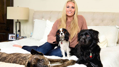 Lindsey Vonn with her dogs: Leo, Lucy, and Bear.