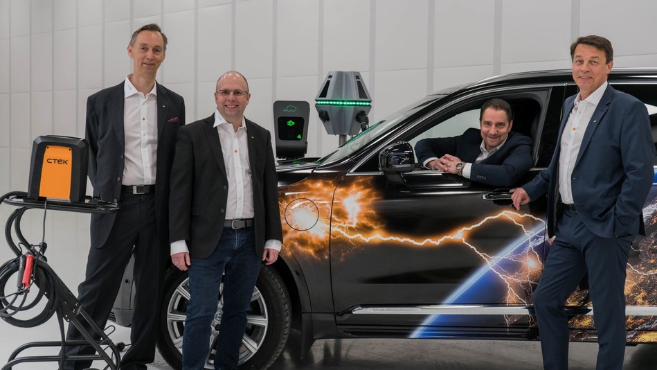 Jon Lind (CEO, CTEK), Tomas Wolf (chairman, Chargestorm), Patrik Lindergren (founder, Chargestorm) & Stefan Gabrielsson (founder, Chargestorm) Together, these two pioneering companies can take the Electrical Vehicle market by storm (PRNewsfoto/CTEK)