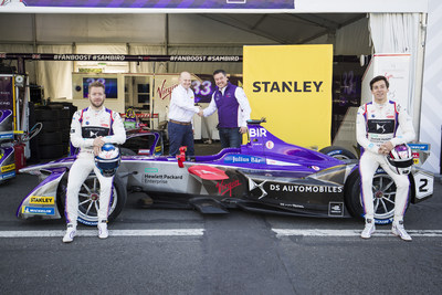 PARIS, FRANCE - APRIL 27: Alex Tai, Team Principal of the DS Virgin Racing Formula E Team with Mike Simpson, Chief Marketing Officer of Stanley Black & Decker, are joined by drivers Sam Bird and Alex Lynn beside the team's all-electric Formula E car to mark the new partnership between the two ahead of Saturday's Paris E-Prix.  [Left to right = Sam Bird, Mike Simpson, Alex Tai and Alex Lynn]