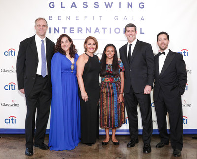 Glasswing International's 2018 Gala raises $675,000 for children and youth in Latin America. Glasswing co-founders Ken Baker, Celina de Sola, and Diego de Sola with special guest independent journalist and producer Maria Elena Salinas, Glasswing Ambassador ESPN Commentator Fernando Palomo, and youth beneficiary Ana in New York City.
