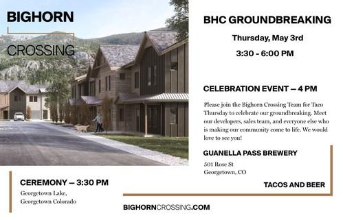 Invite for Bighorn Crossing's groundbreaking event in Georgetown, Colorado.