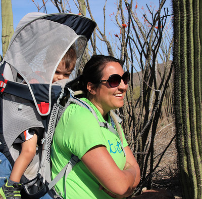 Army veteran Desiree Gonzales and her 16-month-old son joined Warriors and their guests to hike the challenging Usery Mountain Wind Cave trail and learn how to dine out nutritionally during a recent Wounded Warrior Project® (WWP) event designed to promote physical wellness and mental health.