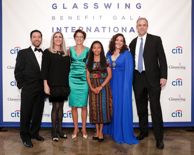 Glasswing co-founders Diego de Sola, Celina de Sola, and Ken Baker with Citi Latin America CEO Jane Fraser, Citi El Salvador's Ana Cristina Lopez, and youth beneficiary Ana.