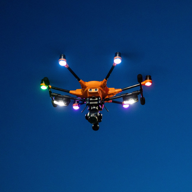 Yuneec drone with two Rugo lights, one mounted to each leg