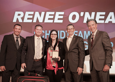 "Wendy's Top GM Renee O'Neal (center) with Schmidt Family Restaurant Group President, Justin ""Juice"" Schmidt (left of O'Neal), and senior leaders from The Wendy's Company."