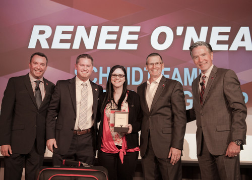 """Wendy's Top GM Renee O'Neal (center) with Schmidt Family Restaurant Group President, Justin """"Juice"""" Schmidt (left of O'Neal), and senior leaders from The Wendy's Company."""