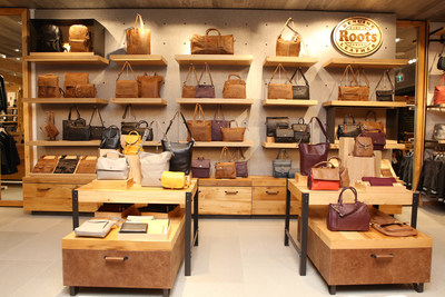 Roots leather bag wall (CNW Group/Roots Corporation)