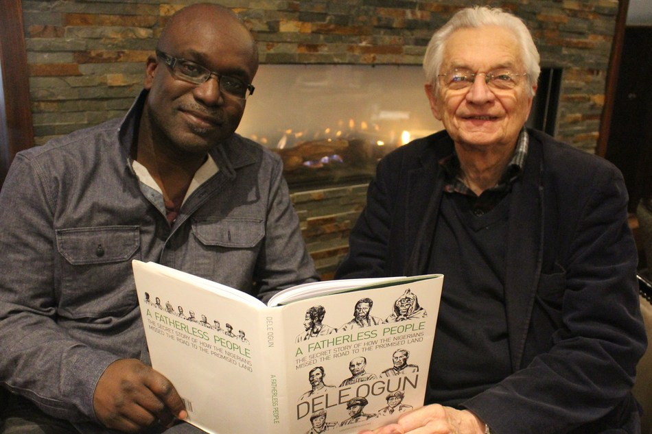 Author of: 'A Fatherless People', Dele Ogun meets with Cambridge man, Allan Spink , a researcher and graduate of economics and politics, to discuss controversial aspects of the book on Nigerian and colonial leadership. (PRNewsfoto/Lawless Publications)