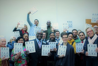 Supporters of Dele Ogun's achievement celebrate the launch of his book: A Fatherless People, in Central London. (PRNewsfoto/Lawless Publications)