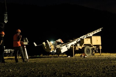 ScanEagle poised for launch at 2017 Eagle Creek fire in Oregon.