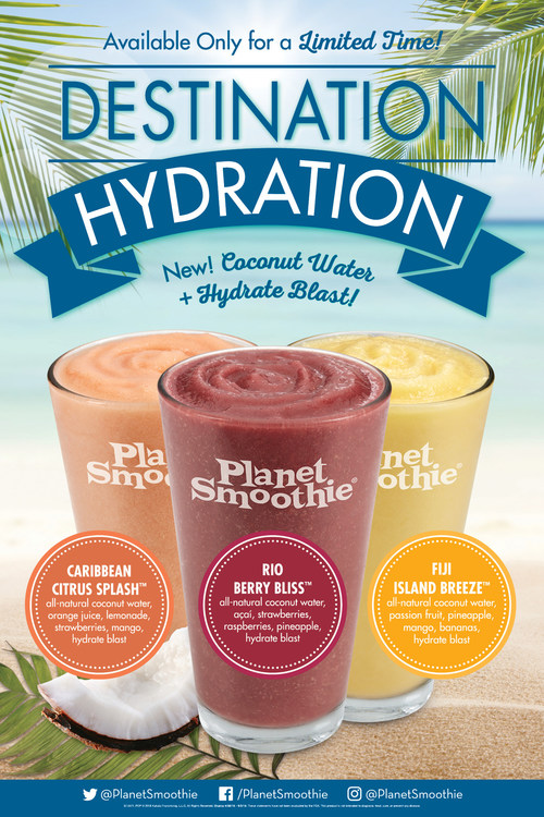 Planet Smoothie® is making a splash with hydration smoothies. Destination Hydration will introduce customers to three new smoothies featuring coconut water and a Hydrate Blast, available for a limited time only, now through Sept. 2, 2018.