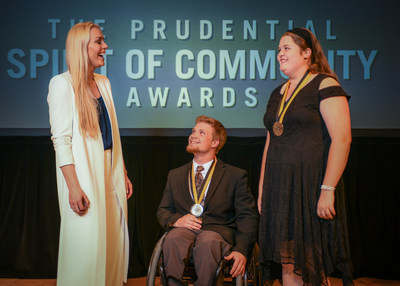 Olympic gold medalist and World Cup champion Lindsey Vonn congratulates Grayson Phillips, 18, of Gardendale (center) and Katherine Huggins, 14, of Florence (right) on being named Alabama's top two youth volunteers for 2018 by The Prudential Spirit of Community Awards. Grayson and Katherine were honored at a ceremony on Sunday, April 29 at the Smithsonian's National Museum of Natural History, where they each received a $1,000 award.