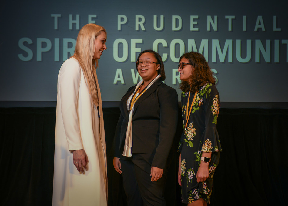 Olympic gold medalist and World Cup champion Lindsey Vonn congratulates Alexandria Brady-Mine, 18, of Gainesville (center) and Paloma Rambana, 12, of Tallahassee (right) on being named Florida's top two youth volunteers for 2018 by The Prudential Spirit of Community Awards. Alexandria and Paloma were honored at a ceremony on Sunday, April 29 at the Smithsonian's National Museum of Natural History, where they each received a $1,000 award.