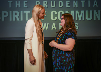 Olympic gold medalist and World Cup champion Lindsey Vonn congratulates Jessica Perry, 12, of Kenai (right) on being named one of Alaska's top two youth volunteers for 2018 by The Prudential Spirit of Community Awards. Jessica was honored at a ceremony on Sunday, April 29 at the Smithsonian's National Museum of Natural History, where she received a $1,000 award. Alaska's other top youth volunteer of 2018, Vanessa Duhrsen, 17, of Anchorage, was unable to attend Sunday's event and was honored in absentia for her outstanding volunteer service.