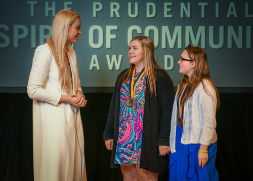 Olympic gold medalist and World Cup champion Lindsey Vonn congratulates Anna Richey, 16, of Paris (center) and Alexis Roberson, 13, of Caraway (right) on being named Arkansas' top two youth volunteers for 2018 by The Prudential Spirit of Community Awards. Anna and Alexis were honored at a ceremony on Sunday, April 29 at the Smithsonian's National Museum of Natural History, where they each received a $1,000 award.
