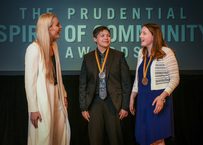 Olympic gold medalist and World Cup champion Lindsey Vonn congratulates Maricruz Contreras, 17, of Wilmington (center) and Jenna Dewey, 13, of Felton (right) on being named Delaware's top two youth volunteers for 2018 by The Prudential Spirit of Community Awards. Maricruz and Jenna were honored at a ceremony on Sunday, April 29 at the Smithsonian's National Museum of Natural History, where they each received a $1,000 award.