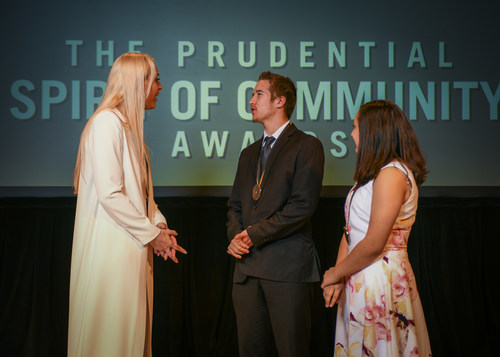 Olympic gold medalist and World Cup champion Lindsey Vonn congratulates Zachary Brown, 17, of Edgewater (center) and Madison Strempek, 13, of Crofton (right) on being named Maryland's top two youth volunteers for 2018 by The Prudential Spirit of Community Awards. Zachary and Madison were honored at a ceremony on Sunday, April 29 at the Smithsonian's National Museum of Natural History, where they each received a $1,000 award.