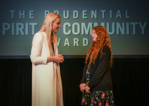 Olympic gold medalist and World Cup champion Lindsey Vonn congratulates Samantha Hook, 12, of North Las Vegas (right) on being named one of Nevada's top two youth volunteers for 2018 by The Prudential Spirit of Community Awards. Samantha was honored at a ceremony on Sunday, April 29 at the Smithsonian's National Museum of Natural History, where she received a $1,000 award. Nevada's other top youth volunteer of 2018, Samantha Schuetze, 17, of Las Vegas, was unable to attend Sunday's event and was honored in absentia for her outstanding volunteer service.