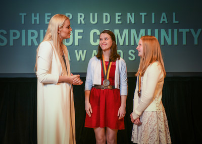 Olympic gold medalist and World Cup champion Lindsey Vonn congratulates Katrina Roberts, 18, of Great Falls (center) and Madelyn Johnson, 12, of Big Timber (right) on being named Montana's top two youth volunteers for 2018 by The Prudential Spirit of Community Awards. Katrina and Madelyn were honored at a ceremony on Sunday, April 29 at the Smithsonian's National Museum of Natural History, where they each received a $1,000 award.