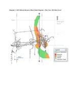 Diagram 1: 2018 Mineral Resource Block Model Diagram – Plan View, 305-Metre Level and Diagram 2: 2018 Mineral Resource Block Model Diagram Zone 1 (F2 Basalt) – Section View Looking West (Mine-Grid) and Diagram 3: 2018 Mineral Resource Block Model Diagram Zone 2 (Hanging Wall and West Limb Basalts) – Section View Looking West (Mine-Grid) (CNW Group/Rubicon Minerals Corporation)