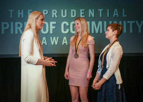 Olympic gold medalist and World Cup champion Lindsey Vonn congratulates Alison Hornung, 18, of North Kingstown (center) and Sarah Lavoie, 14, of Coventry (right) on being named Rhode Island's top two youth volunteers for 2018 by The Prudential Spirit of Community Awards. Alison and Sarah were honored at a ceremony on Sunday, April 29 at the Smithsonian's National Museum of Natural History, where they each received a $1,000 award.