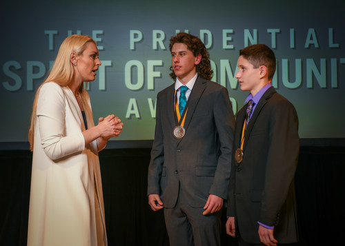 Olympic gold medalist and World Cup champion Lindsey Vonn congratulates Evan Arnold, 18, of Neenah (center) and Cole Stoffel, 13, of Appleton (right) on being named Wisconsin's top two youth volunteers for 2018 by The Prudential Spirit of Community Awards. Evan and Cole were honored at a ceremony on Sunday, April 29 at the Smithsonian's National Museum of Natural History, where they each received a $1,000 award.
