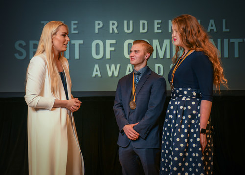 Olympic gold medalist and World Cup champion Lindsey Vonn congratulates Zane Magee, 17, of Montgomery (center) and Caroline Wells, 14, of Tyler (right) on being named Texas' top two youth volunteers for 2018 by The Prudential Spirit of Community Awards. Zane and Caroline were honored at a ceremony on Sunday, April 29 at the Smithsonian's National Museum of Natural History, where they each received a $1,000 award.