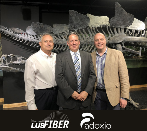LUS Fiber Smart City Challenge (from left) Terry Huval, Executive Director of LUS Fiber; Joel Robideaux, Mayor-President Lafayette, LA; Grant McLarnon, CEO at Adoxio