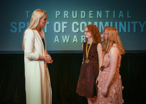 Olympic gold medalist and World Cup champion Lindsey Vonn congratulates Jocelyn Marencik, 17 (center) and Gretchen Gregor, 13 (right), both of Glen Allen, on being named Virginia's top two youth volunteers for 2018 by The Prudential Spirit of Community Awards. Jocelyn and Gretchen were honored at a ceremony on Sunday, April 29 at the Smithsonian's National Museum of Natural History, where they each received a $1,000 award.