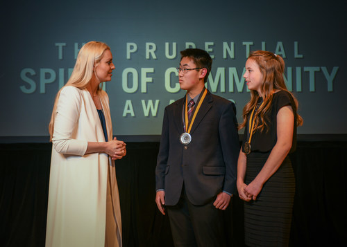 Olympic gold medalist and World Cup champion Lindsey Vonn congratulates Phillip Meng, 15, of Vancouver (center) and Sophia DeMarco, 14, of Enumclaw (right) on being named Washington's top two youth volunteers for 2018 by The Prudential Spirit of Community Awards. Phillip and Sophia were honored at a ceremony on Sunday, April 29 at the Smithsonian's National Museum of Natural History, where they each received a $1,000 award.